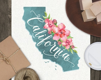 California State Typography Watercolor Art Print // Home Apartment Wall Decor
