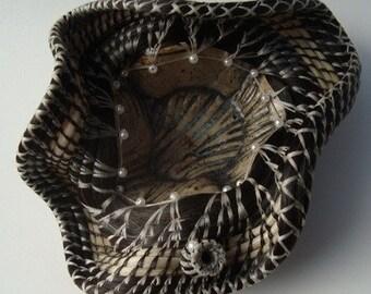 SALE Zebra Wave Horsehair Basket Art Scuplture Black and White