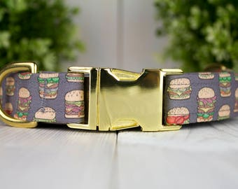Hamburger adjustable Dog Collar with Metal Buckle