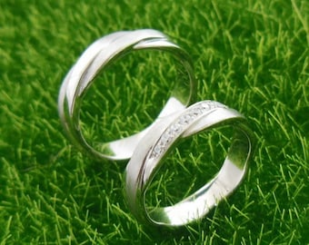 Lovers Ring, Solid 14K White Gold Fashion Ring / Diamond Ring / Wedding Band