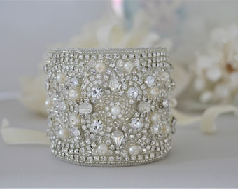 DARCY Vintage Inspired Crytal and Pearl Bridal Cuff/Bracelet