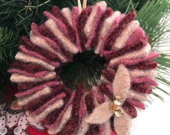 Felted Wool Wreath Ornament // Burgundy, Tan, Rose