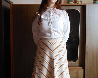1970s midi skirt chevron