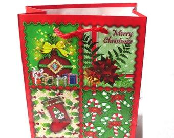 1 pocket, red Christmas gift bag Christmas 12 x 15 x 5, 5cm
