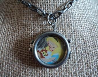 Vintage Disney's Alice In Wonderland necklace 2 sided