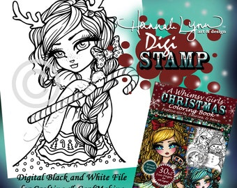 PRINTABLE Digi Stamp Reindeer Girl Whimsy Girls Christmas Coloring Page Fun Fantasy Art Hannah Lynn