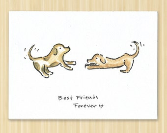 Bff watercolor card etsy best friends forever greeting card bff card friendship card dog puppy greeting card m4hsunfo Images