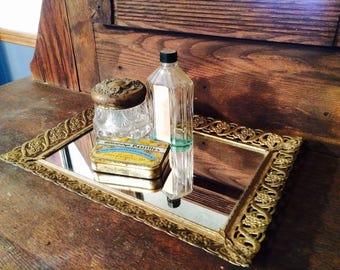 Vintage Gold Filagre Vanity Mirror Tray Dresser Tray Mirrored Tray