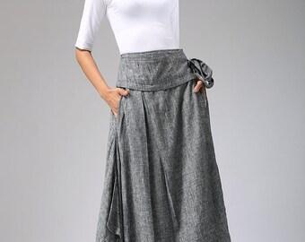 Wrap skirt, grey skirt, long skirt, full skirt, ladies skirt, handmade skirt, flared skirt, ethic skirt, ruffle skirt, plus size skirt  689