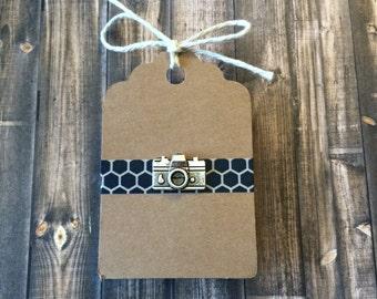 Camera Lapel Pin / Tie Tack - Antique Silver Tone - Tack Backing - Clutch Clasp
