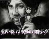 """Portrait Drawing Art Print: """"What Nightmares Are Made of"""" - Tim Burton and Jack Skellington Nightmare Before Christmas"""