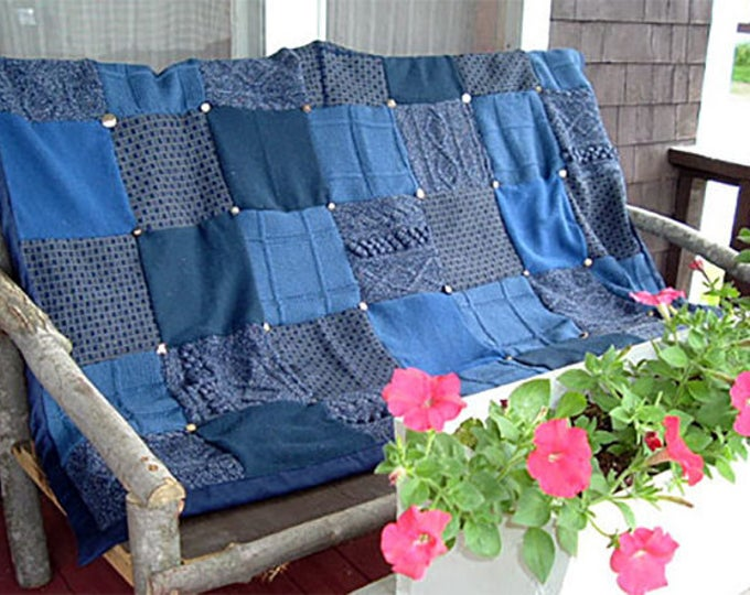 "My ""Happy Blues"" Wool Sweater Quilt — I can make one similar for you!"