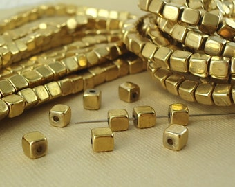 10 Brass Cube Square 5mm Beads Solid Brass Rounded Dice Spacer small Metal Chunk Nugget Squared Loose Cubed Beads