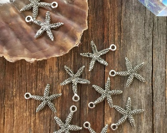 Antique Silver Small Starfish Charms, 16x20mm, 2pcs / Nunn Designs, Starfish Pendants, Nautical, Beach Charms, Star Fish, Jewelry Supplies