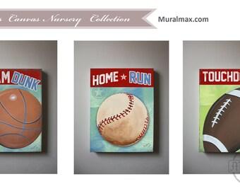 Sports Set of 3  Nursery Canvas Art ,   Baby Boys Room Art Print , Football, Baseball, Basketball , Vintage Sports Canvas art