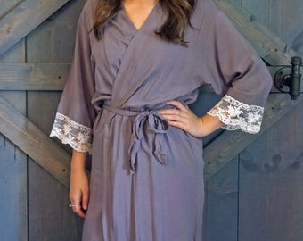 COTTON LACE ROBES - Gray Lace Robe - Bridesmaid Gifts - Lace Wedding Party Robe - Lace Bride Robe - Lace Wedding Robe - Lace Cotton Robe