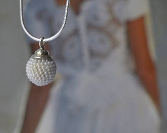 small globe bridal pendant necklace  pearly white