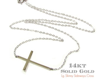 14KT SOLID GOLD Large Size Sideways Cross Necklace, Horizontal Cross in 14Kt Solid Yellow Gold, White Gold or Rose Gold