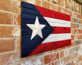 Puerto Rico Burnt Wood Flag