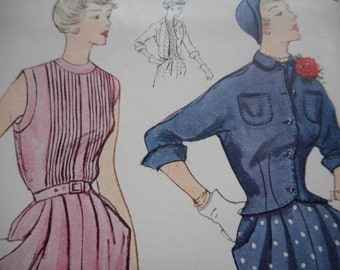 Vintage 1950's Simplicity 3088 Dress and Jacket Sewing Pattern Size 14 Bust 32