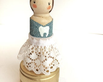 Personalize Tooth Fairy Wooden Jewelry Box Princess Gift Toothfairy Wooden Peg Doll Dolls Unique Gift Idea Custom Kids