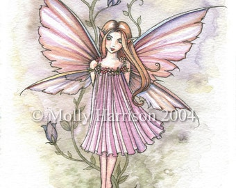 Fairy Art Print - May - Soft Tones Purple and Green - Whimsical Fairy Fine Art Print by Molly Harrison 8 x 10