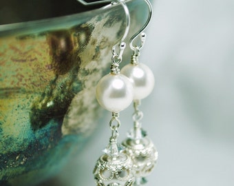 Filigree Bridal Earrings, Handmade Wedding Swarovski White Pearl Crystal Plated Silver E263B09