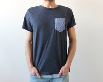 Handmade pocket T-shirt - blue triangles