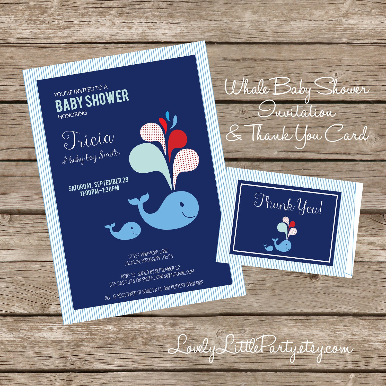 Diy printable whale themed baby shower invitation and thank you card diy printable whale themed baby shower invitation and thank you card lovely little party filmwisefo Gallery