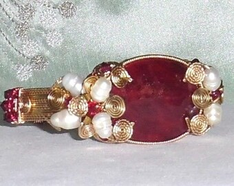 109ct Red Ruby 14kt yellow gold Bracelet, CERTIFIED Natural Oval Red Ruby gemstone, 14kt yellow gold Bangle Bracelet 8""