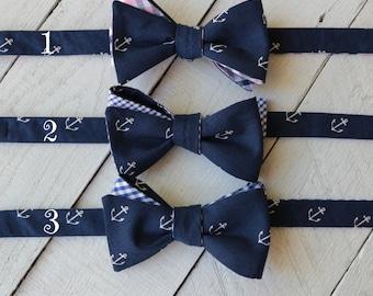 Reversible Bow Tie~Mens Self Tie Bow Tie~Mens PreTied~Anniversary Gift~Wedding Tie~Nautical Tie~Anchor Tie~Anchor Bow Tie~Navy Anchor