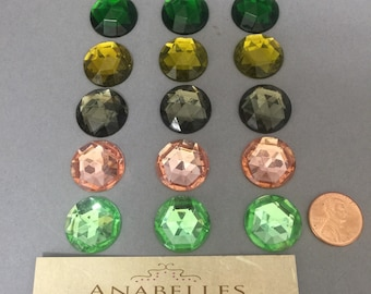 Vintage Glass Jewels. NOS. 20mm. Sold by 1 piece, 6 pieces or 12 pieces.