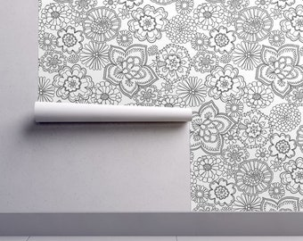 Black + White Floral Wallpaper - Intricate Flowers 2 By Andie Hanna - Custom Printed Removable Self Adhesive Wallpaper Roll by Spoonflower