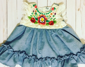 Hand Embroidered Mexican Peasant Dress