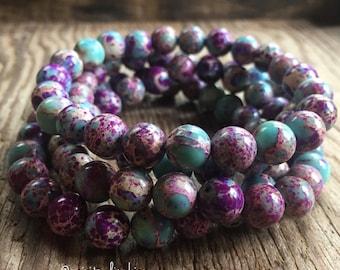 Teal + Purple Jasper | Avg 8 mm | Spiritual Junkies | Yoga + Meditation | Mala Bracelet | Color Enhanced