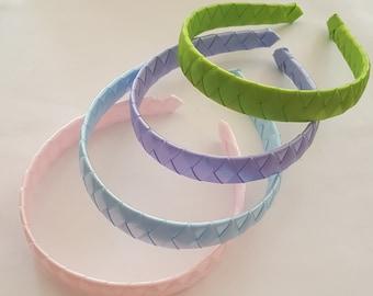 Satin ribbon woven headbands-light pink,lime green, lilac, light blue spring headbands hairbands girl headbands school headband braided