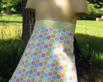 Wrap Skirt Reversible Multi-Flowers with Green Child 4-8