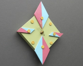 Modern wall clock - Atomic Style  -Bright Diamond  - wall clock