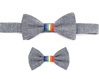 The Sunnyside Bow Tie Set — Dog Bowtie, Brooklyn Bowtied, Rainbow, Gay Pride, Chambray, Denim, Matching Dog and Owner, Human, Wedding