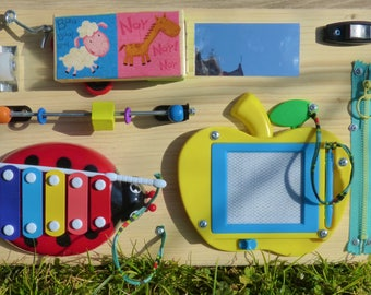 busy board / activity board / sensory board / toddler / cool toy / smart toy / gift for toddler / travel board / wooden motoric toy