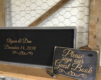 Wedding Guest Book Alternative - Elegant Wedding GuestBook - Gold Wedding Sign - Wedding Sign Package