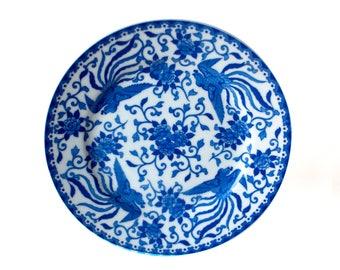 Noritake Howo Plate   1930's Noritake Japanese Porcelain Cobalt Blue Howo Phoenix & Blossoms Design, Noritake Howo 9-Inch, Howo Plate