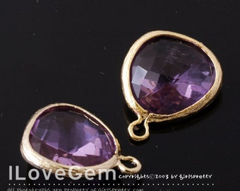 SALE 20% off // 10pcs of  P1750  Gold plated, Lilac, Glass fancy rosecut 12.5mm, Glass pendant, Framed glass