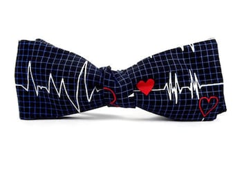 ekg bowtie, heartbeat bowtie, nurse bowtie, medical bowtie, doctor bowtie, graduation bowtie, science bowtie, heartbeat bowtie, rn bowtie