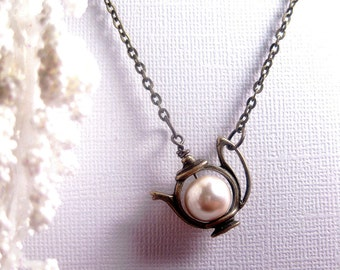 Teapot Necklace - Teapot Pendant - Pearl Necklace - White Satin Pearl - Custom Chain Length - Christmas Gift