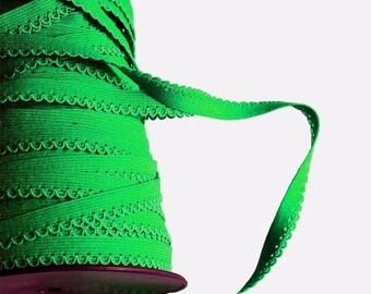 Elastic Ribbon grass green color sold per meter