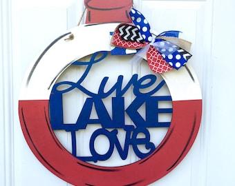 Live, love, lake door hanger, lake door hanger, lake door decor, lake life, lake, bobber, fishing bobber, fishing door hanger