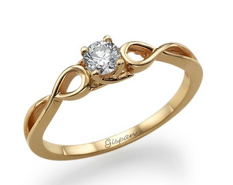 Infinity Engagement Ring In 14k Rose Gold With Natural Diamonds- Infinity Band, Art Deco Ring, GispanDiamonds, Delicate Ring, Dainty Ring