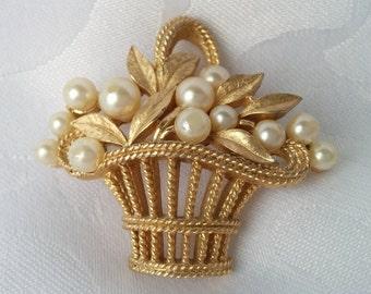 Trifari Basket Brooch - Pearls