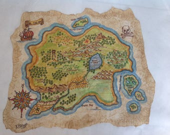 Hand Painted Pirate Map